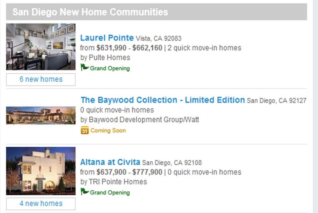 New Homes May San Diego